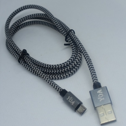 Picture of Braided Micro-USB Data Cable - 1M - Black/Gray